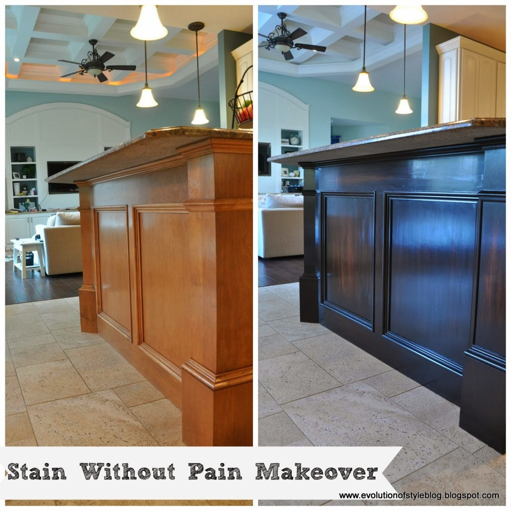 staining kitchen cabinets darker before and after how to stain without the breakfast bar evolution 9777