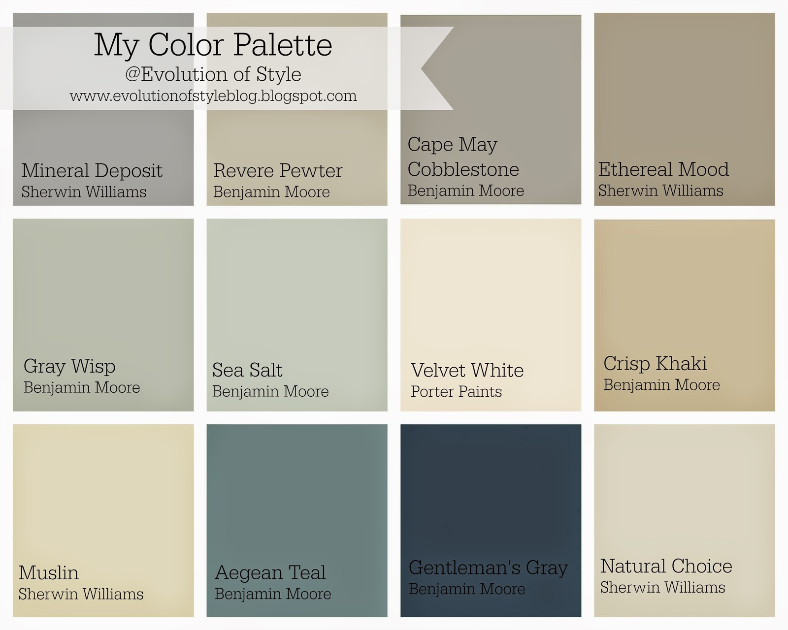 Whole house color palette evolution of style for Blue gray paint palette