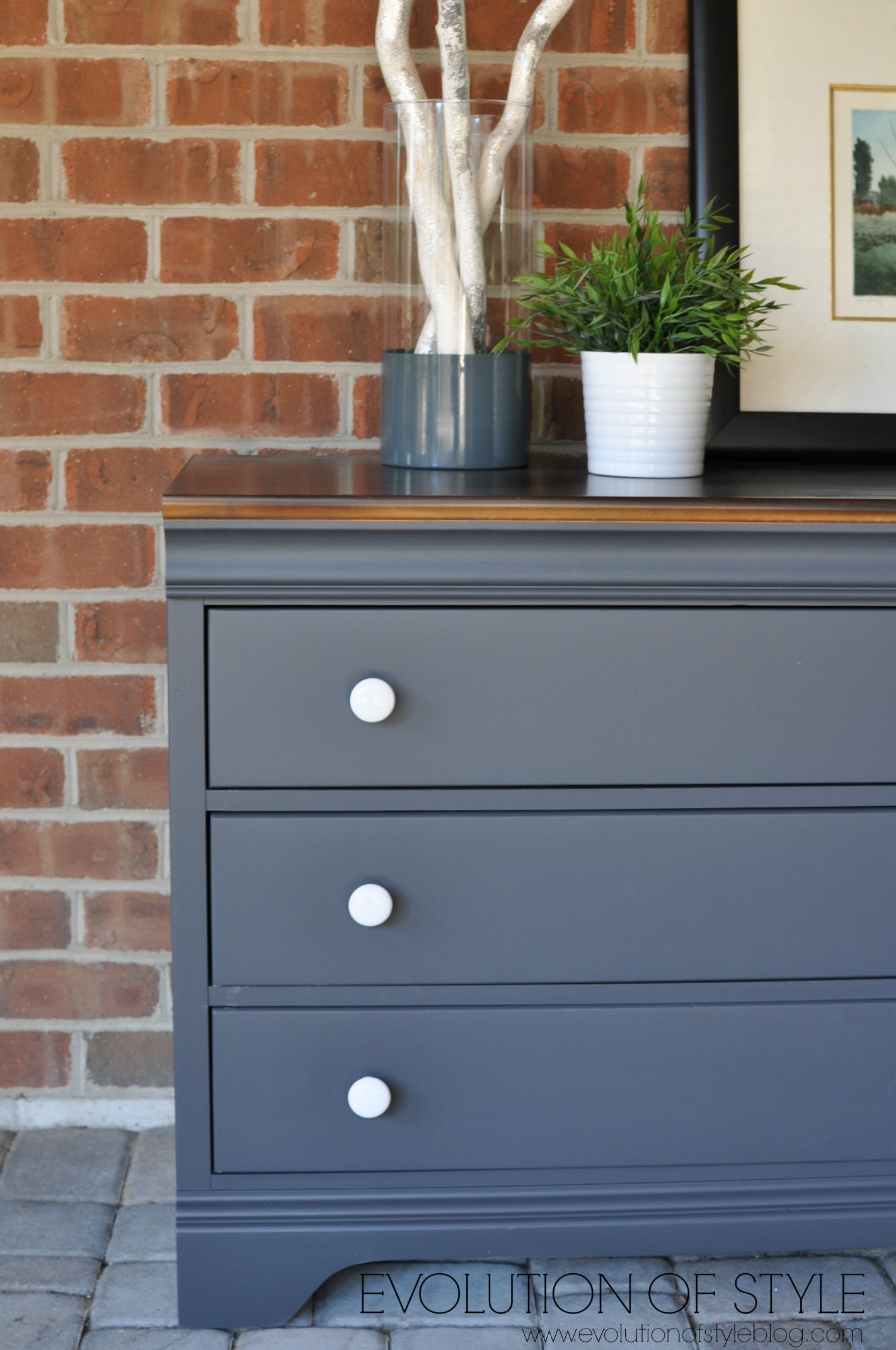 Queenstown gray dresser makeover evolution of style for Dark grey furniture paint