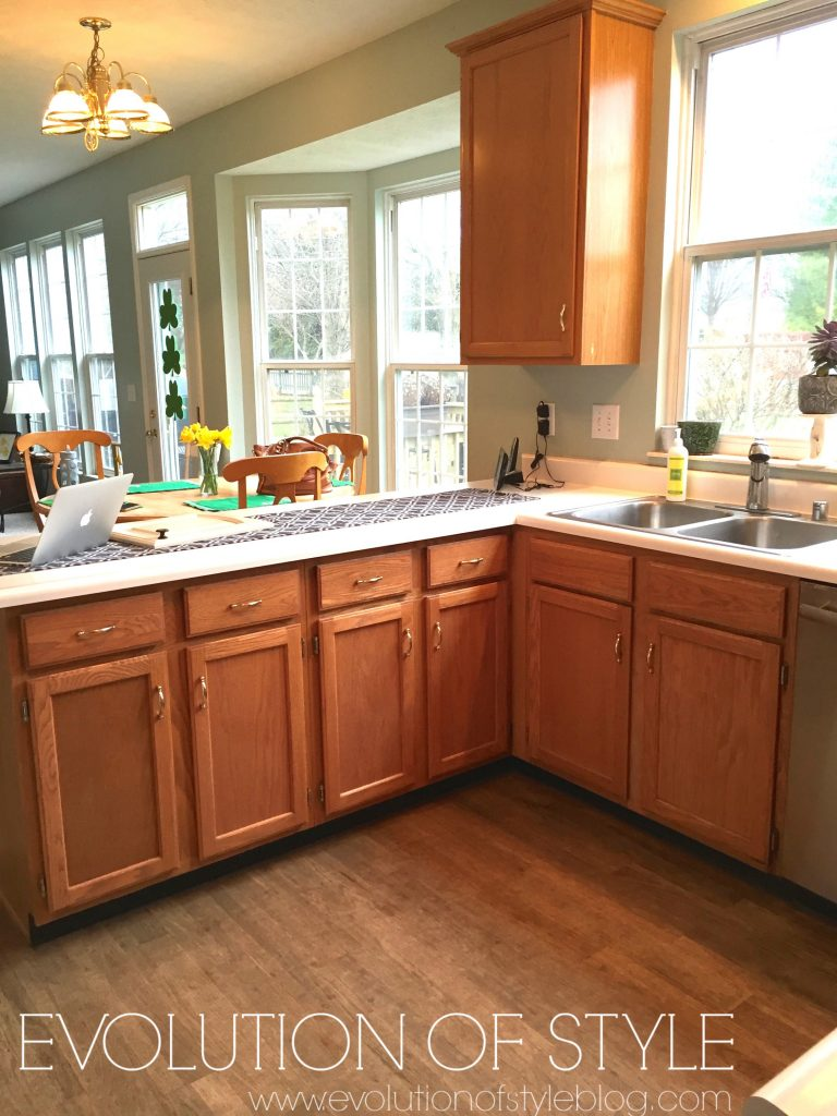 Revere Pewter Kitchen With Oak Cabinets