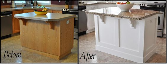 Updating builder grade end cabinets evolution of style - Adding a kitchen island ...