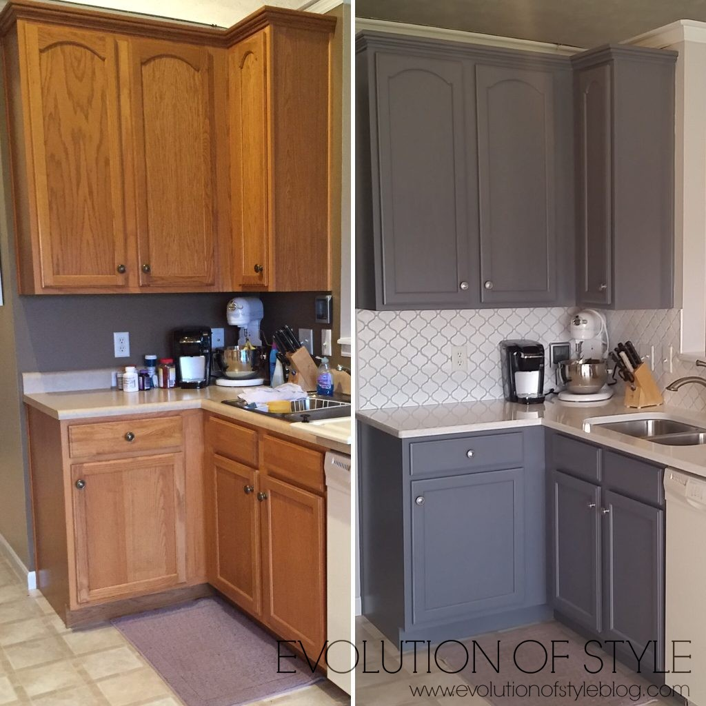 Maple Cabinets Painted Before And After