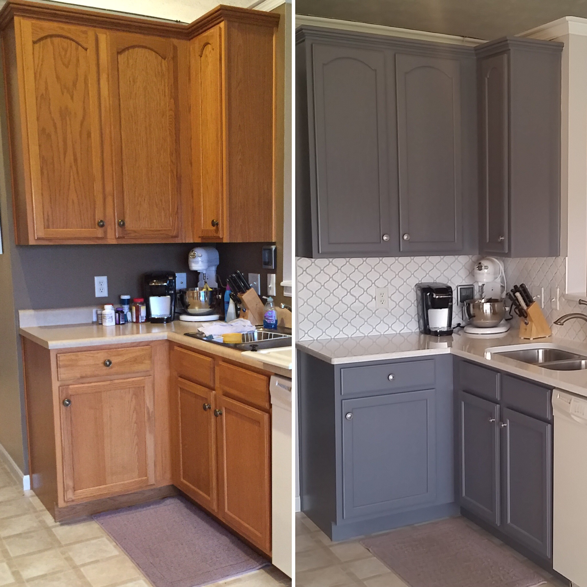 Painting Stained Oak Kitchen Cabinets