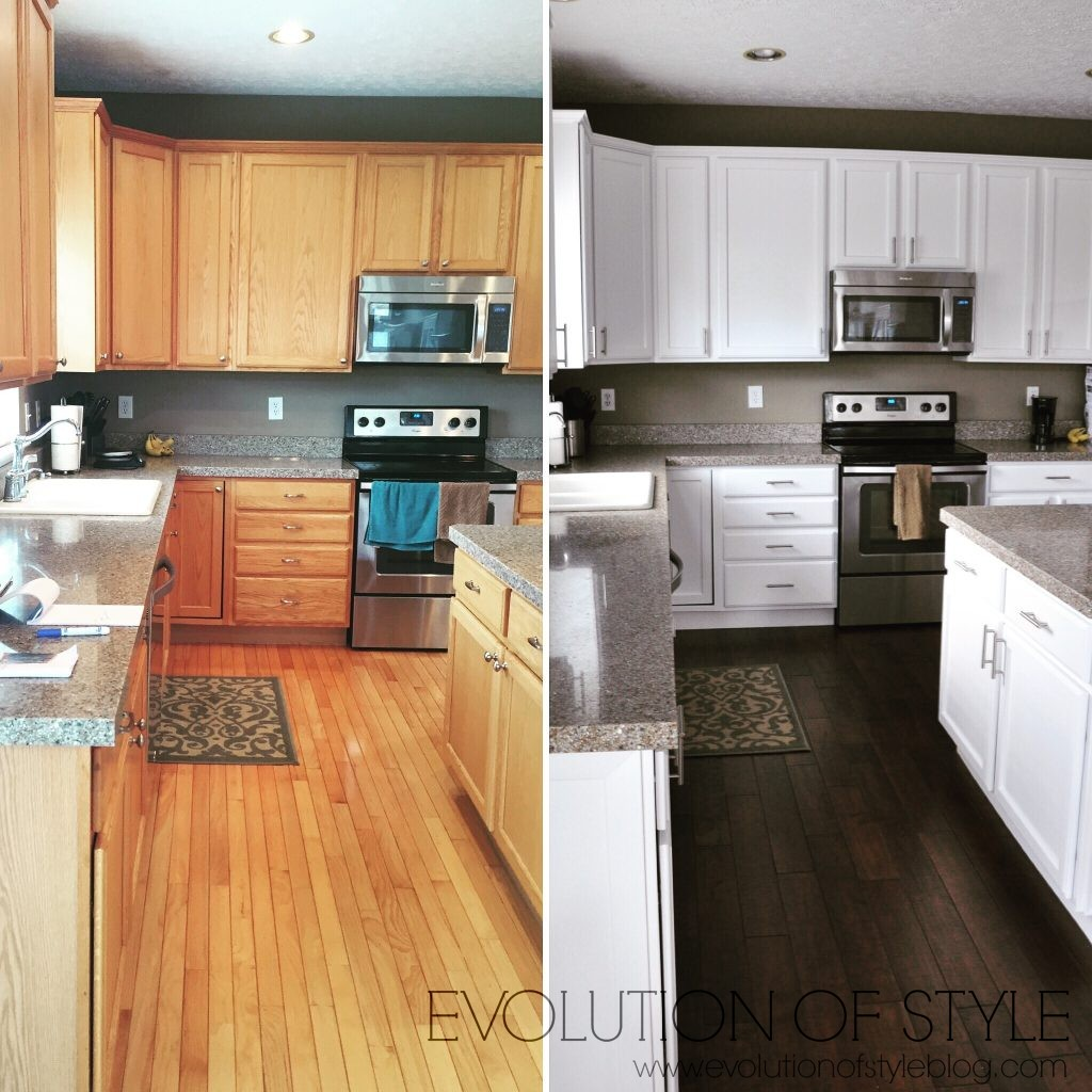 painting oak cabinets white before and after updated oak kitchens 134