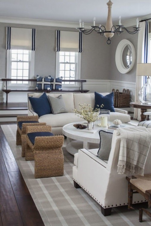 Navy blue family room