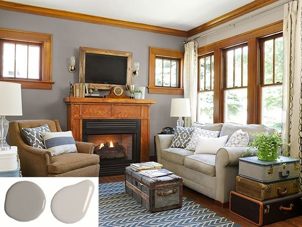 Oak Trim with Gray Walls