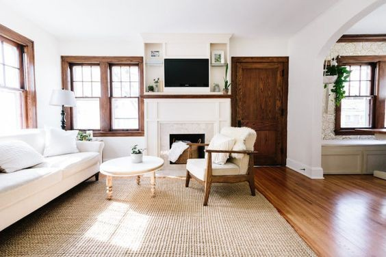 Stained Woodwork White Walls