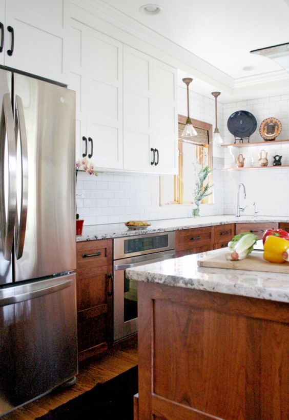Paint color ideas for stained woodwork - Two tone kitchen cabinets ...