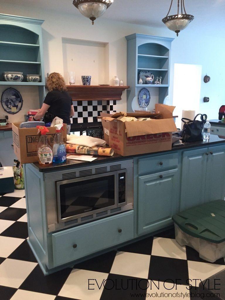 Blue Kitchen Before