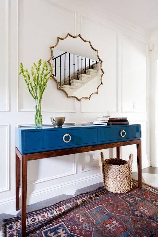 Blue Lacquer Console Table