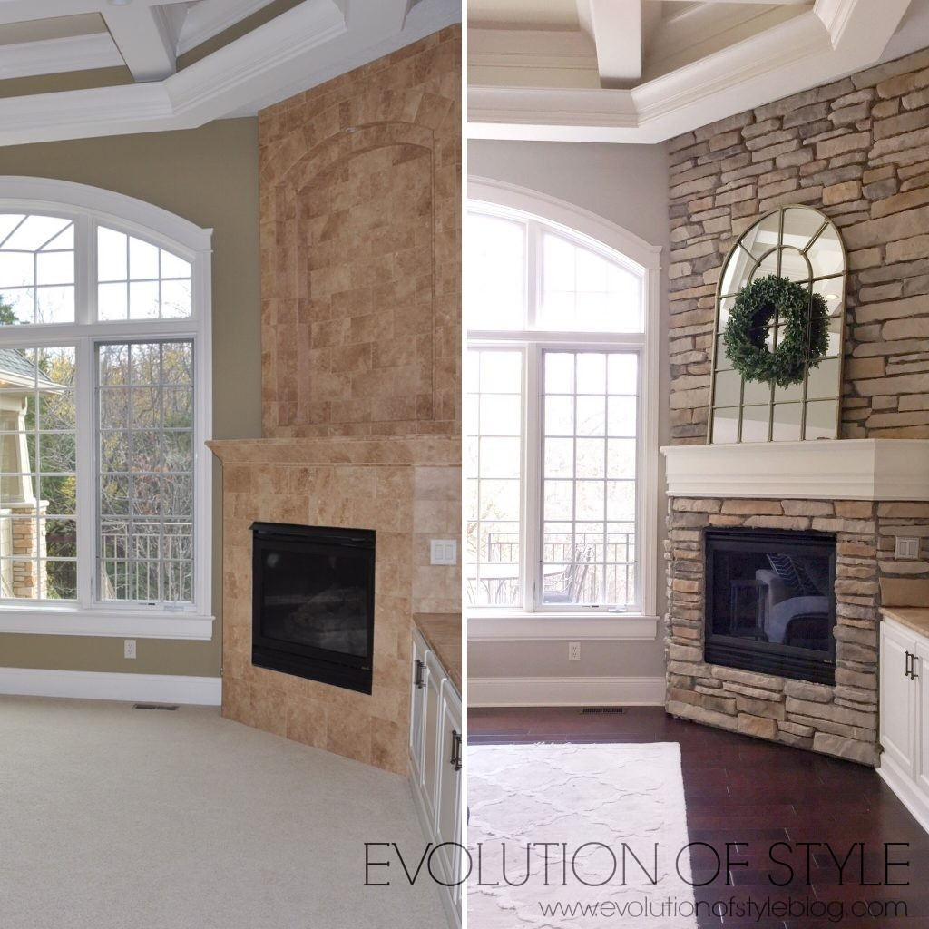 Fireplace before-after