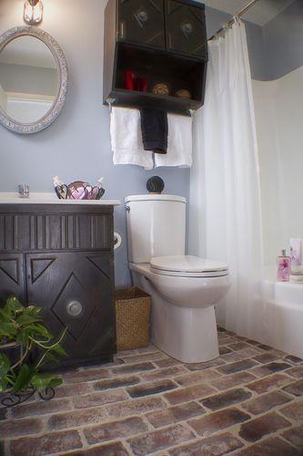 Brick flooring bathroom