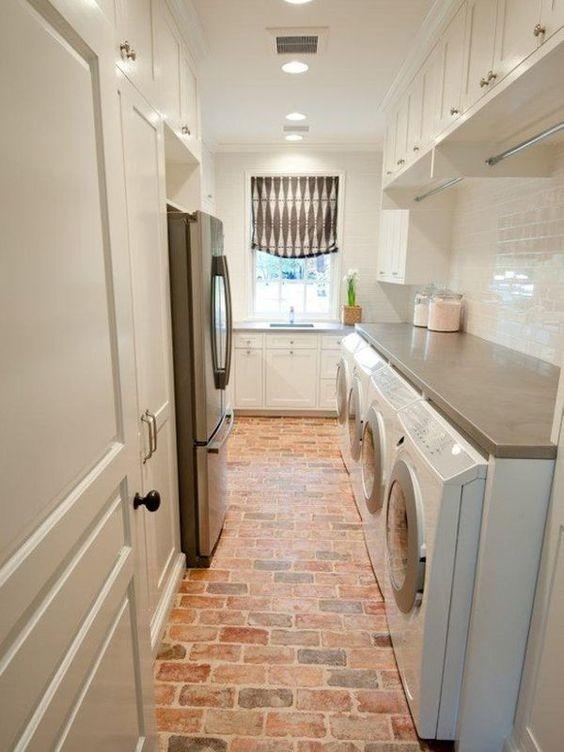 Brick flooring laundry room