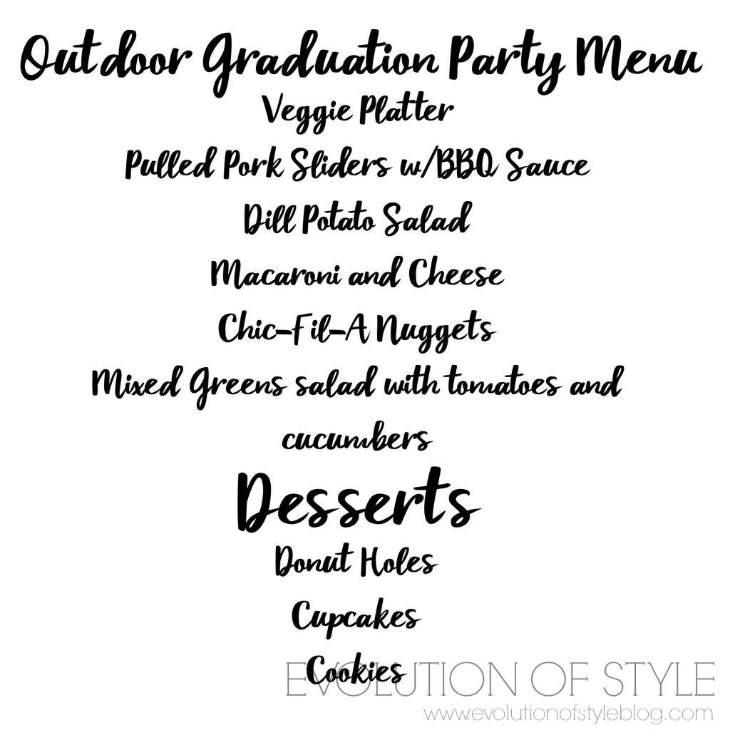Graduation Party Menu