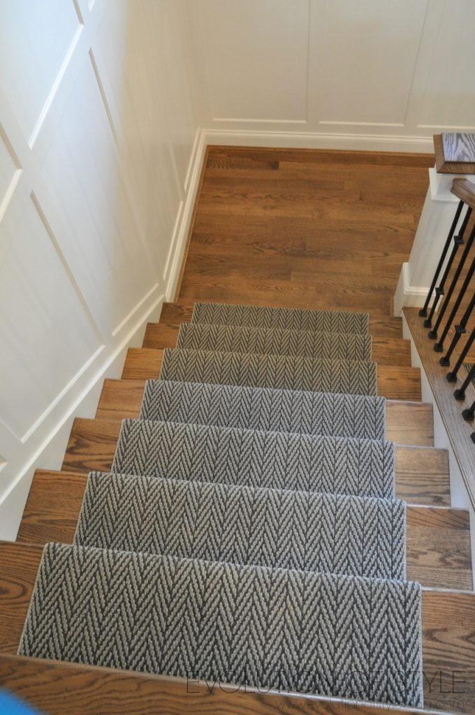 Wood Stairs with Herringbone Runner