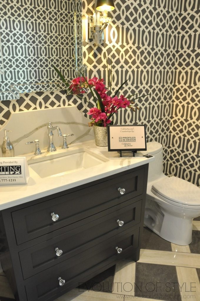Bathroom with Graphic Wallpaper