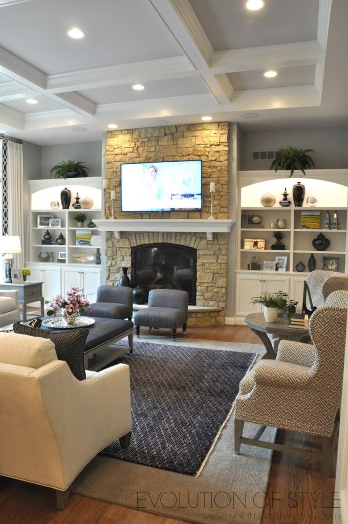 Home Tour: Great Room with Bookcases