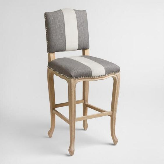 The Hunt for the Perfect Barstool - Gray and White Wood Trimmed Barstool