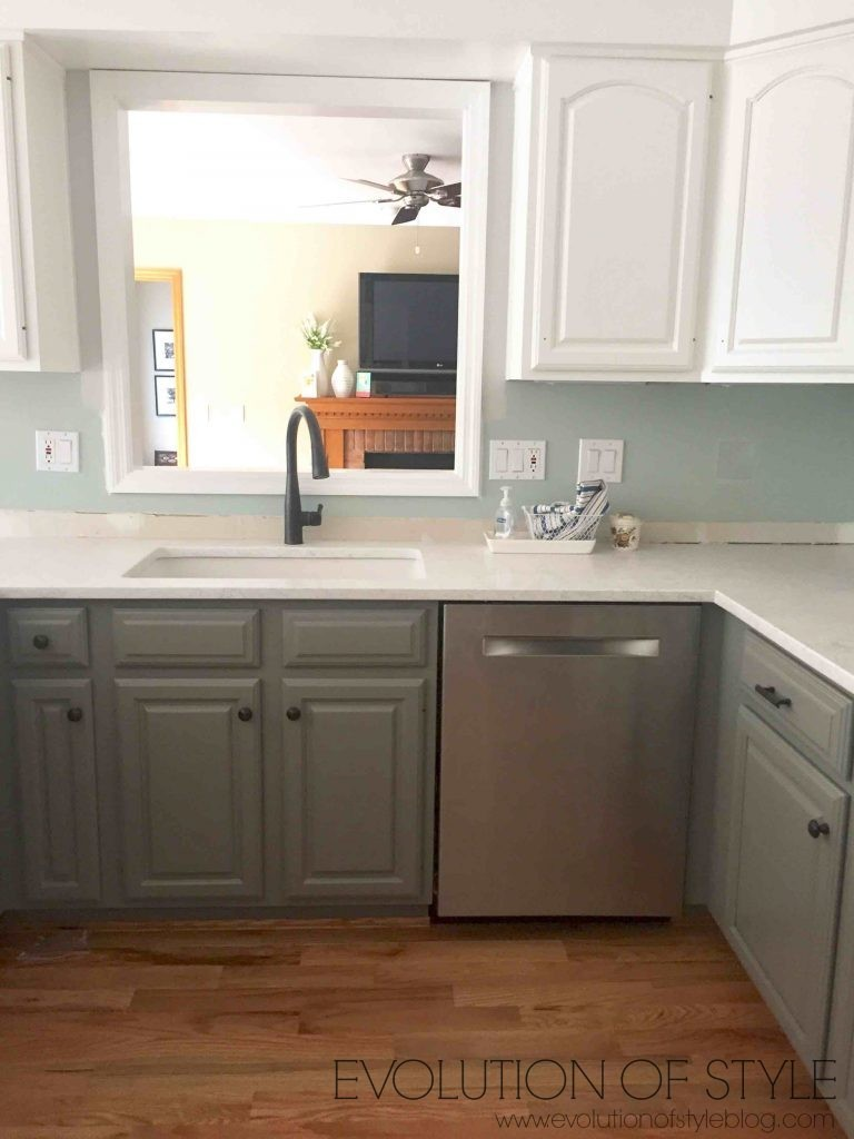 Gray and White Two Toned Kitchen Cabinet Makeover
