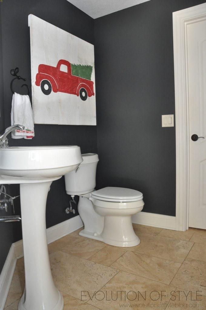 Nightfall Dark Gray Paint Color in Bathroom