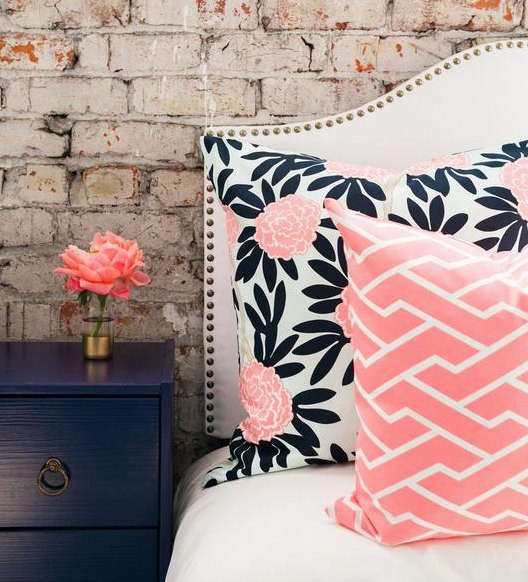 Navy and Blush Pillows