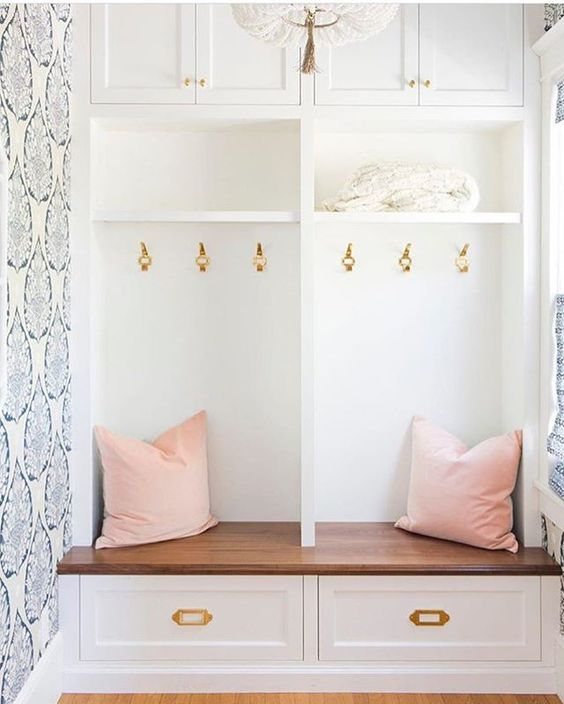Navy and Blush Wallpaper