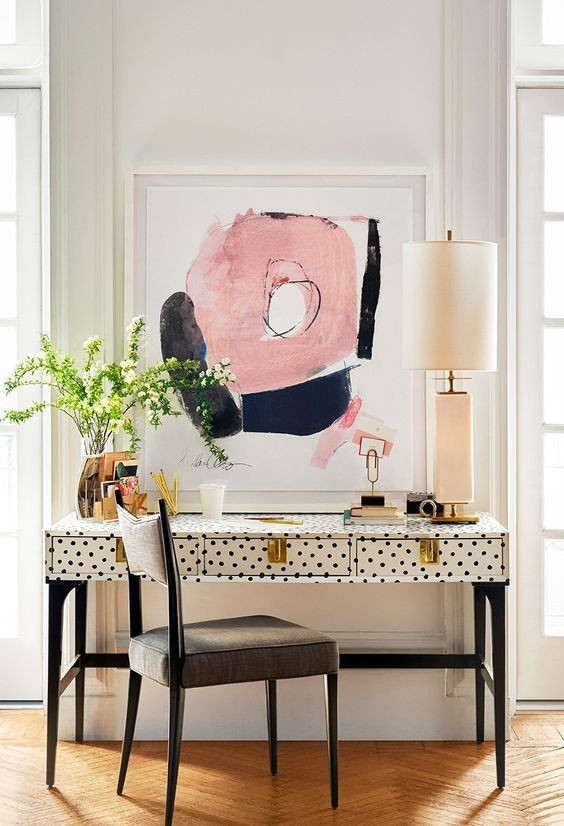 Navy and blush office