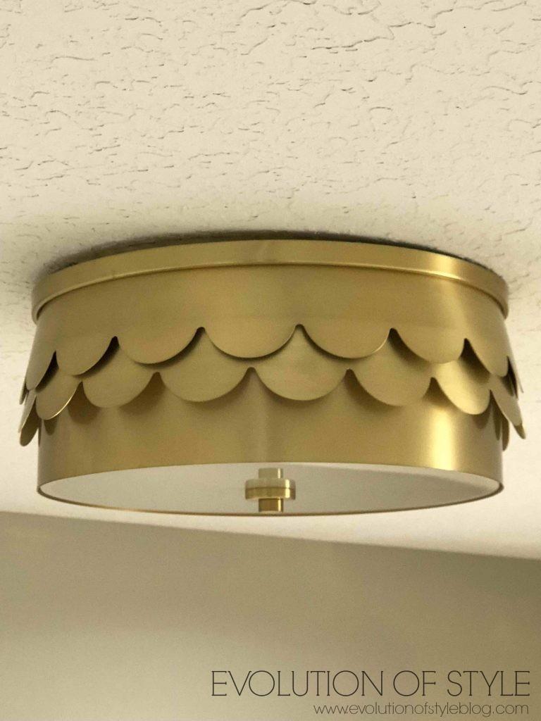 Ballard Designs Brass Scalloped Drum Light