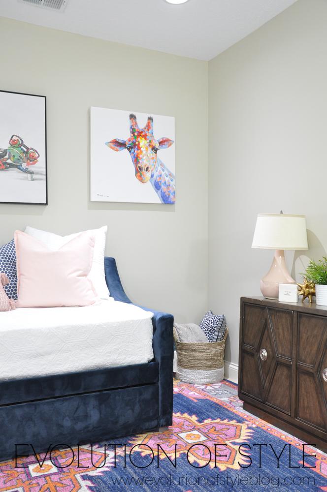 Blush and Navy Room Decor
